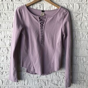 Free People Lilac Plunging V-Neck Lace Up Tee
